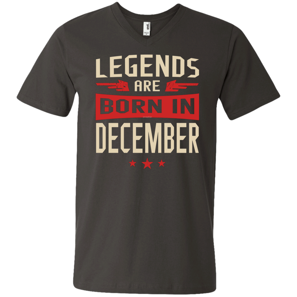 Legends Are Born in December AT0078 982 Men's Printed V-Neck T-Shirt