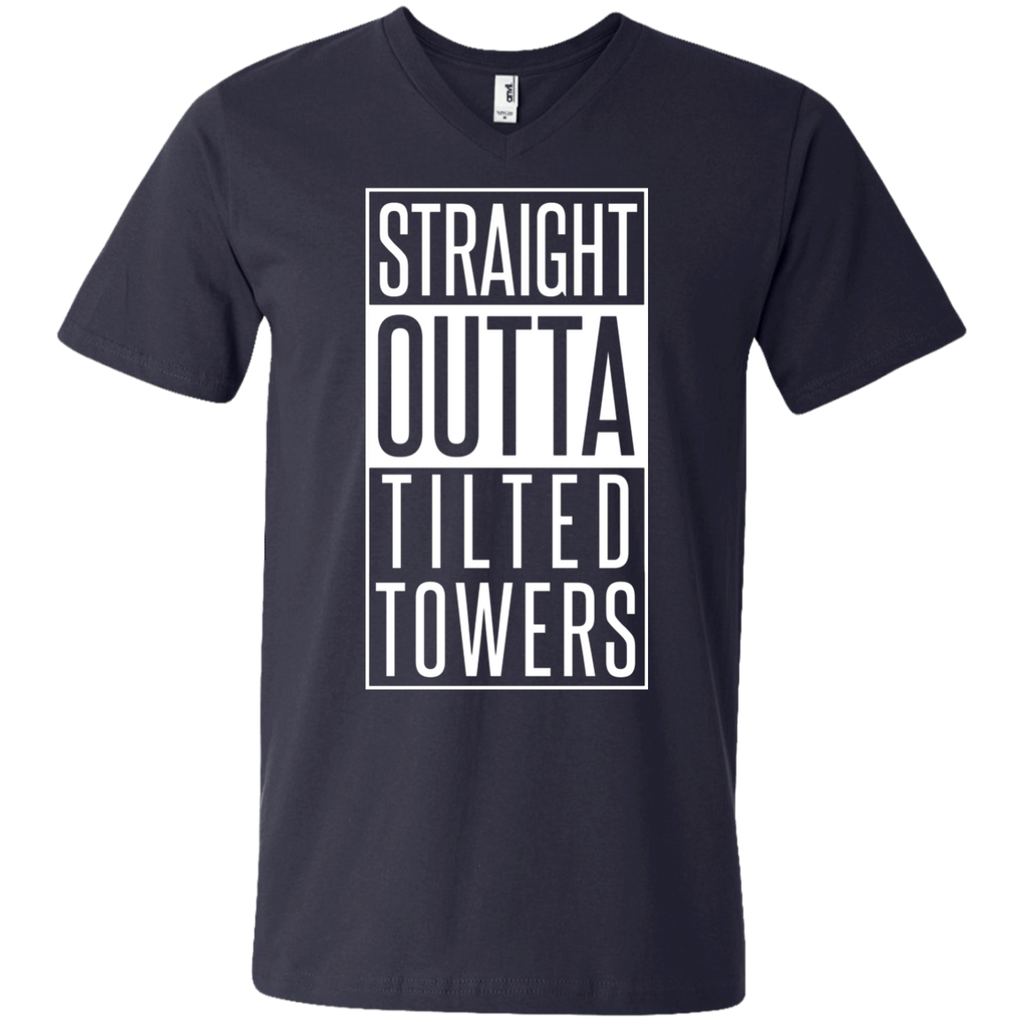 Straight outta tilted towers AT0100 982 Men's Printed V-Neck T-Shirt