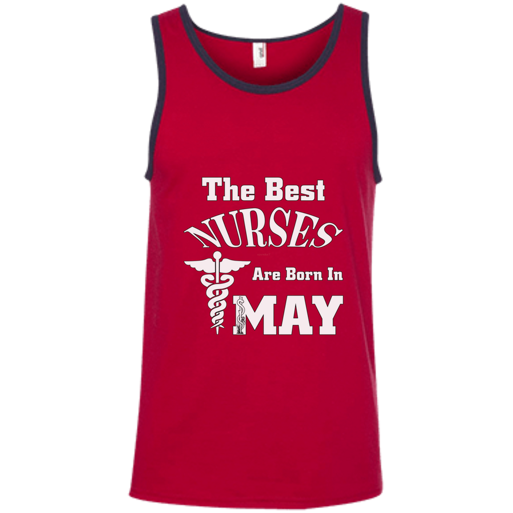 The Best Nurses Are Born In MAY AT0123 100% Ringspun Cotton Tank Top
