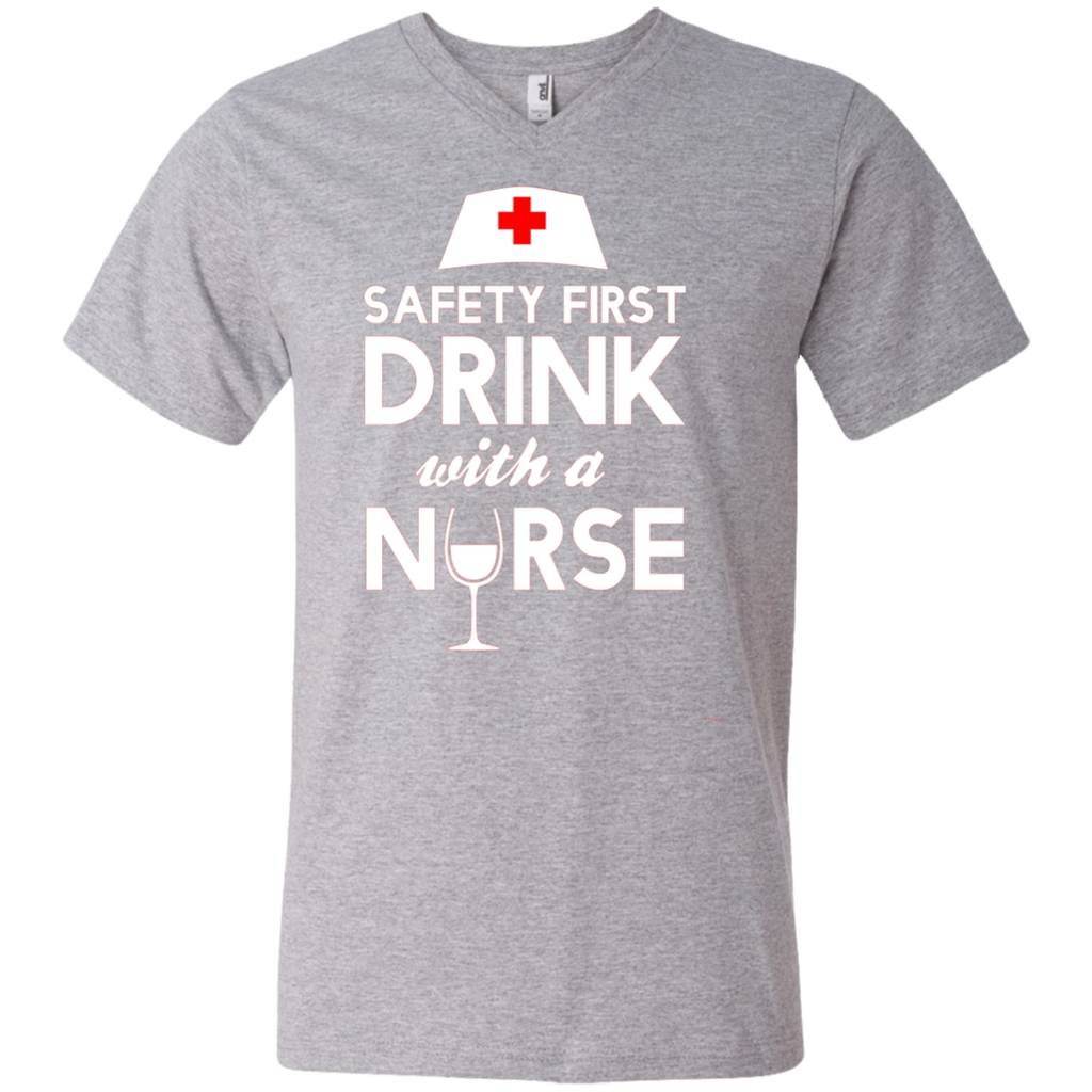 Safety first drink with a nurse AT0120 982 Men's Printed V-Neck T-Shirt