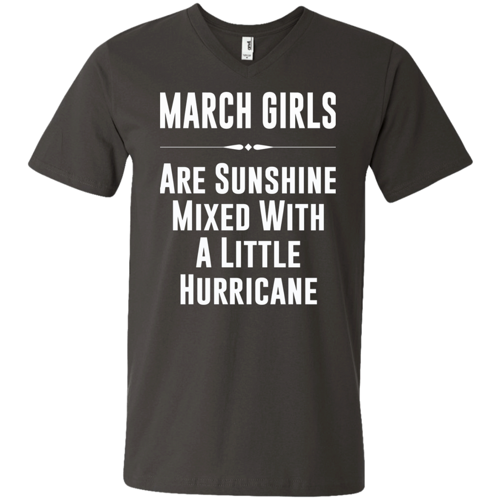 March girls are sunshine mixed with a little hurricane AT0090 982 Men's Printed V-Neck T-Shirt