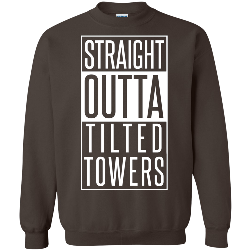 Straight outta tilted towers AT0100 G180 Crewneck Pullover Sweatshirt  8 oz.