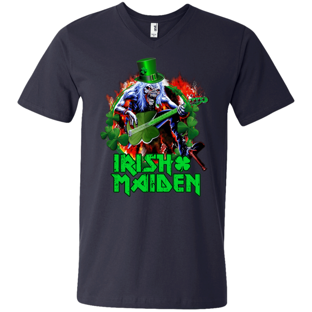 Iron Maiden - Irish Mainden 982 Men's Printed V-Neck T-Shirt