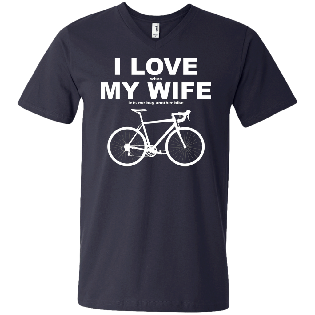 I LOVE MY WIFE AT0070 982 Men's Printed V-Neck T-Shirt