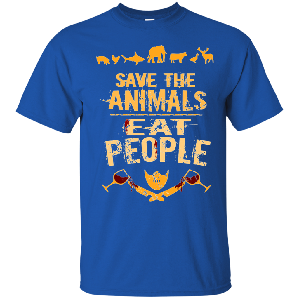save the animals, EAT PEOPLE AT0050 G200 Cotton T-Shirt