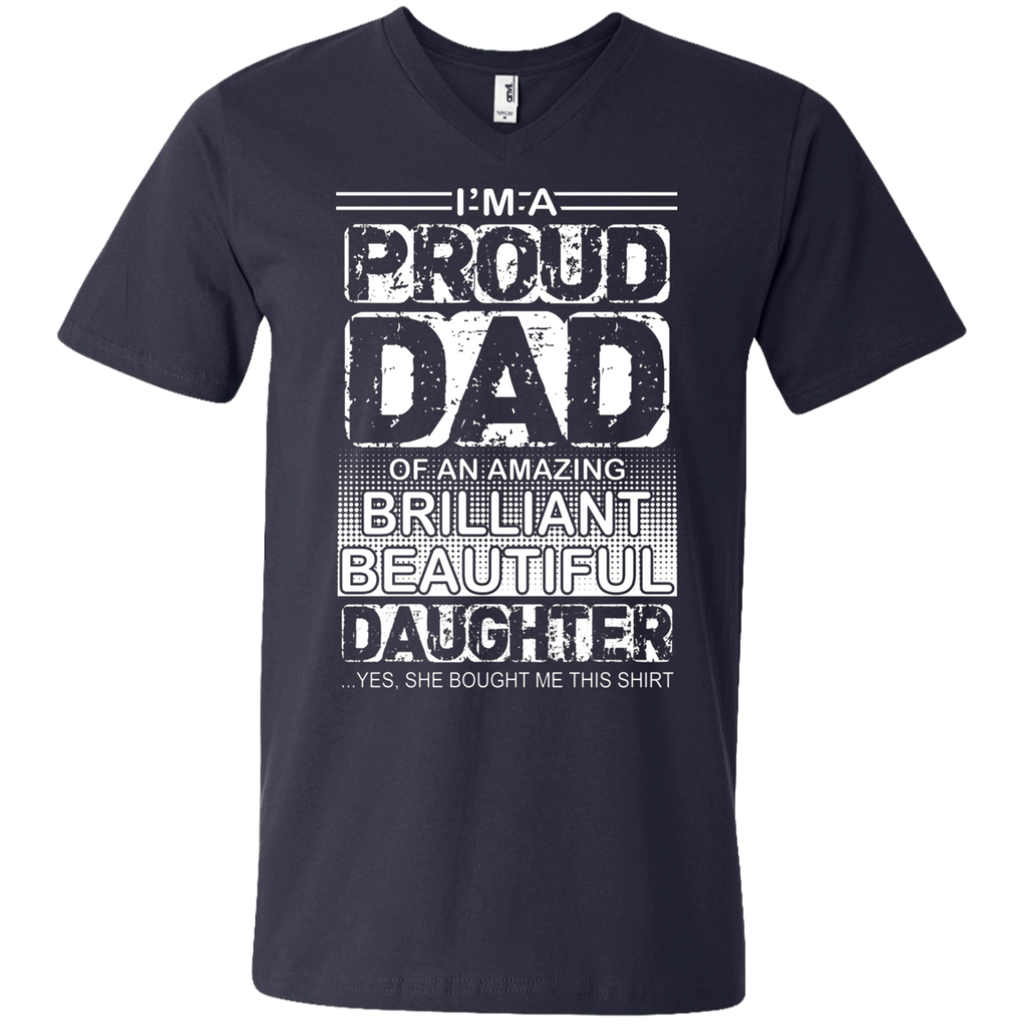 Proud dad of an amazing daughter AT0126 982 Men's Printed V-Neck T-Shirt