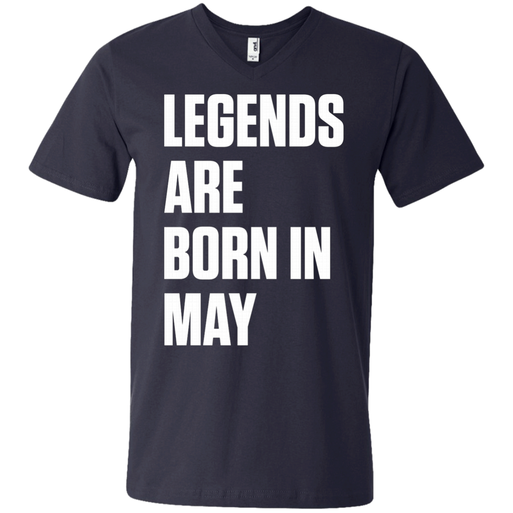 Legends Are Born In May AT0080 982 Men's Printed V-Neck T-Shirt