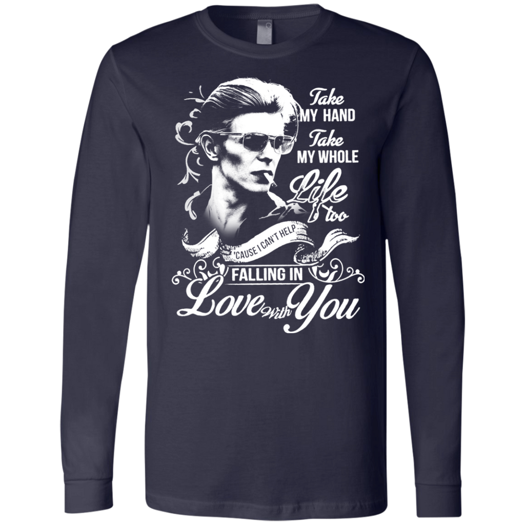 David Bowie Lovw - Falling in Love with you 3501 Men's Jersey LS T-Shirt - OwlCube - Diamond Painting by Numbers