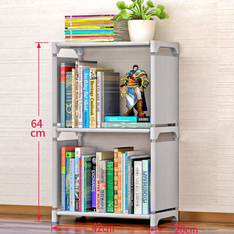 Non-woven Fabric Simple Bookshelf Stainless Steel Easy Moving Assembled Shelf Clothes Toys Rack Bookcase Home Decoration Holder