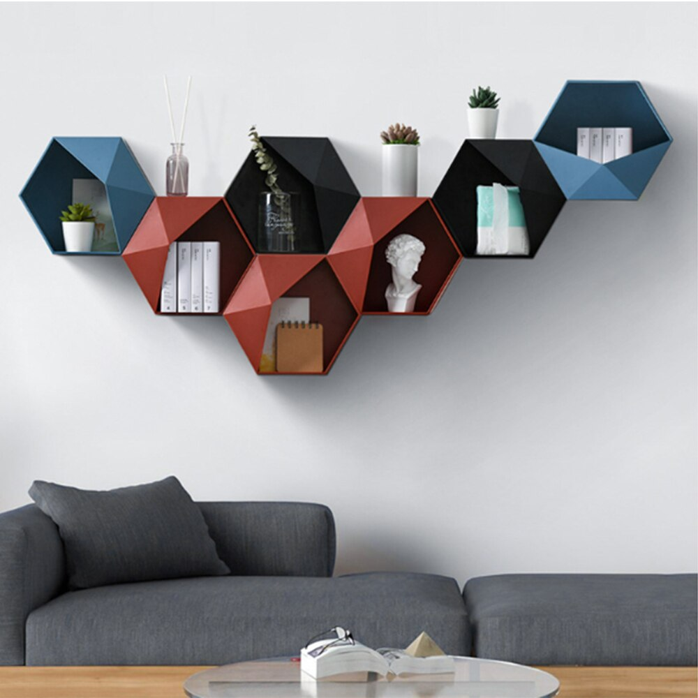 Living Room Wall-mounted Geometric Punch-free Wall Decoration Bathroom Creative Art Shelf Wall Decor High Quality Storage Rack