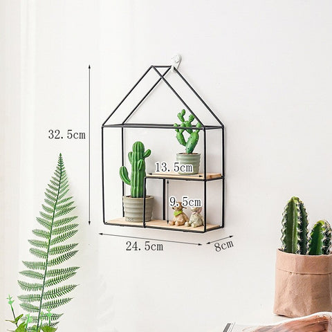 Hot Wooden Gold Storage Racks Hanging Decor Storage Box Flower Pot House Storage Rack Wall Book Figurines Display Crafts Shelves