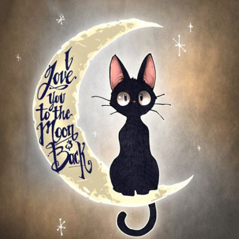 "Full Square/Round Drill 5D DIY Diamond Painting ""Cartoon cat moon"" 3D Embroidery Cross Stitch 5D Decor Gift"