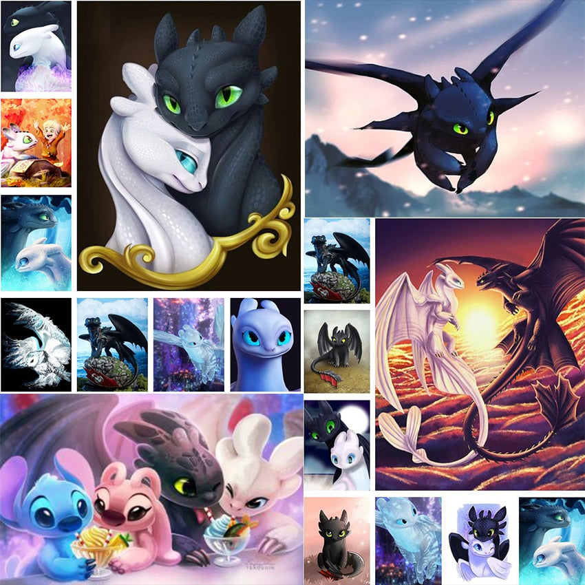 popular 5d diamond painting cartoon dragon diy diamond painting cross stitch cartoon dragon rhinestone picture christmas gift