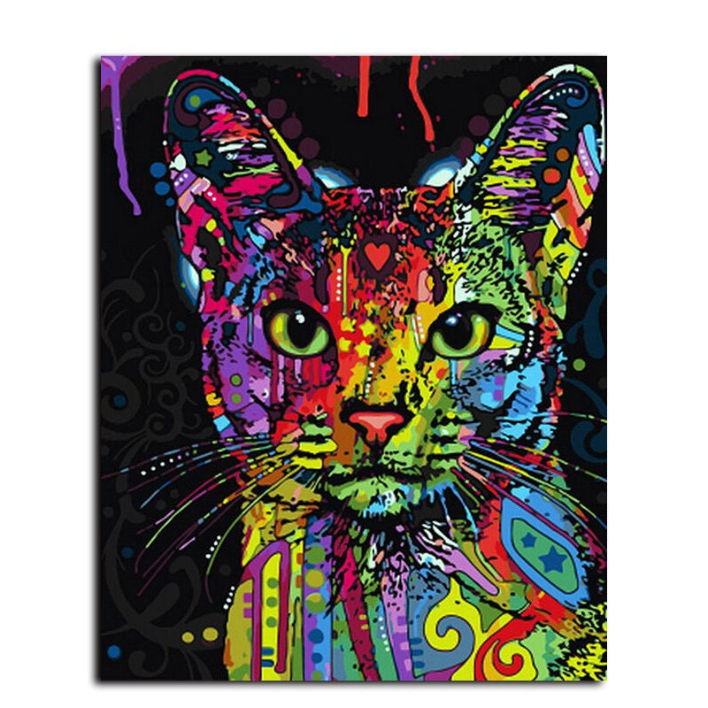Colorful Cat Makes the World - Easy DIY Paint by Numbers Kits - OwlCube Canvas Wall Art - OwlCube - Diamond Painting by Numbers