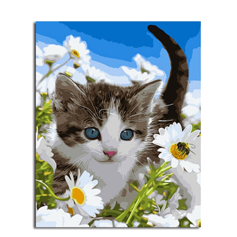 Cat and Flowers - Easy DIY Paint by Numbers Kits - OwlCube Canvas Wall Art - OwlCube - Diamond Painting by Numbers