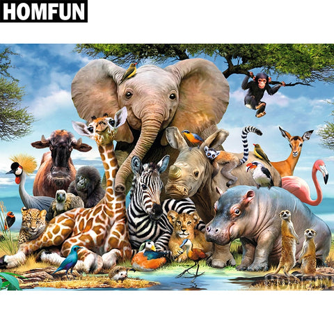 "HOMFUN 3D DIY Diamond Embroidery ""Elephant Forest"" Picture of Rhinestones Diamond Painting Cross Stitch Needlework Decor A00698"