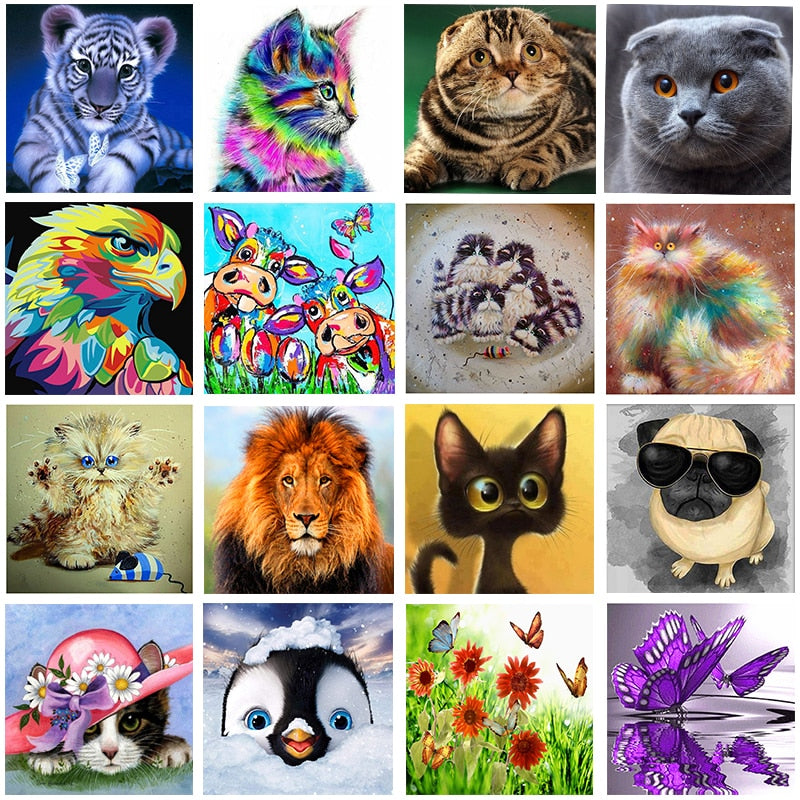 Diy 5d diamond painting cartoon animal round diamond mosaic home decoration embroidery pattern embroidery handmade new year gift