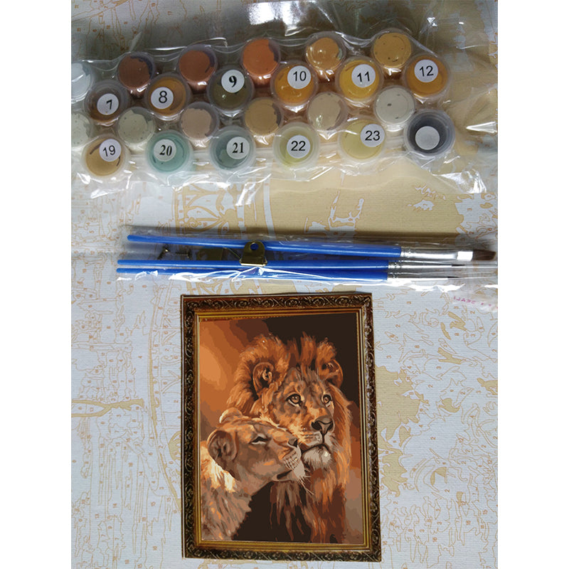 The Lion Animal - Easy DIY Paint by Numbers Kits - OwlCube Canvas Wall Art - OwlCube - Canvas Wall Art