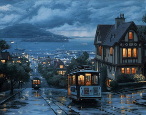 3cf76562b44 An Evening Journey by Evgeny Lushpin - Easy DIY Paint by Numbers Kits  OwlCube Canvas Wall Art