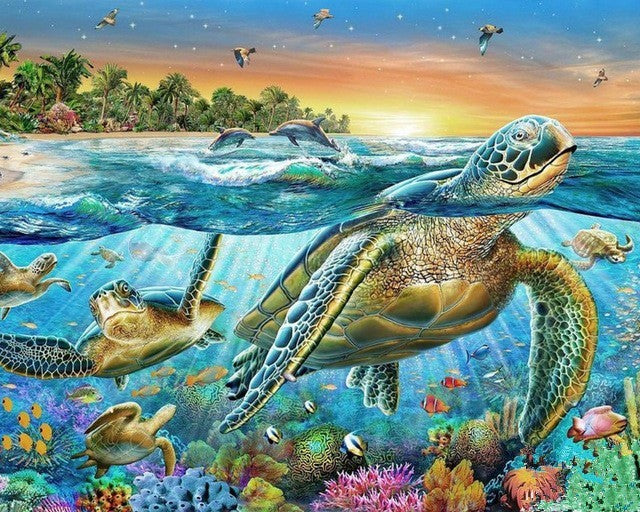 Sea Turtles - Easy DIY Diamond Painting Kits - OwlCube - Canvas Wall Art