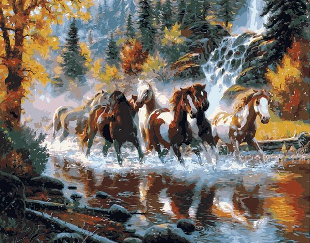 The Horses are Running on the River - Easy DIY Paint by Numbers Kits - OwlCube - Canvas Wall Art