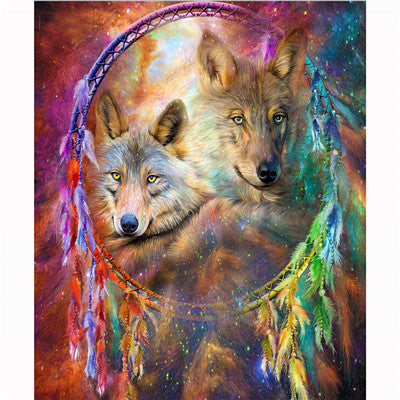 Wolf Dream Catcher - Easy DIY Diamond Painting Kits - OwlCube - Canvas Wall Art