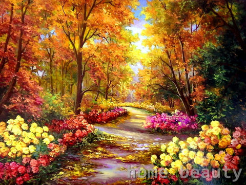 Flowers Road - Easy DIY Paint by Numbers Kits - OwlCube Canvas Wall Art - OwlCube - Diamond Painting by Numbers