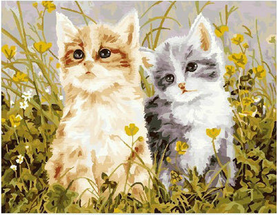 Lovely Cats - Easy DIY Paint by Numbers Kits - OwlCube Canvas Wall Art - OwlCube - Canvas Wall Art