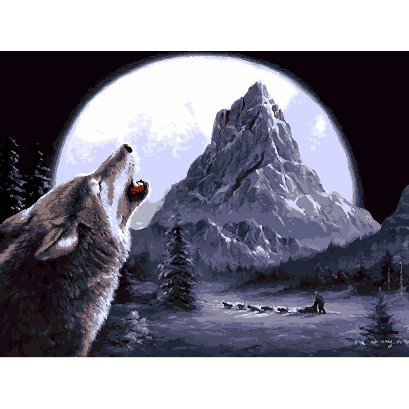 Wolf with Moon - Easy DIY Paint by Numbers Kits - OwlCube - Canvas Wall Art