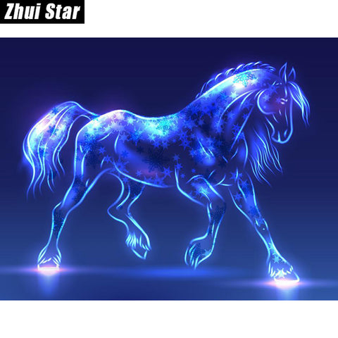 Fluorescent Horse - Easy DIY Diamond Painting Kits - OwlCube - Diamond Painting by Numbers