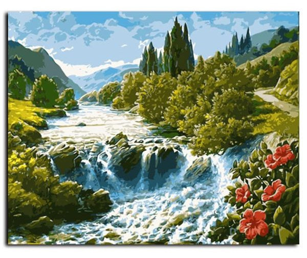 Waterfall Landscape - Easy DIY Paint by Numbers Kits - OwlCube Canvas Wall Art - OwlCube - Canvas Wall Art