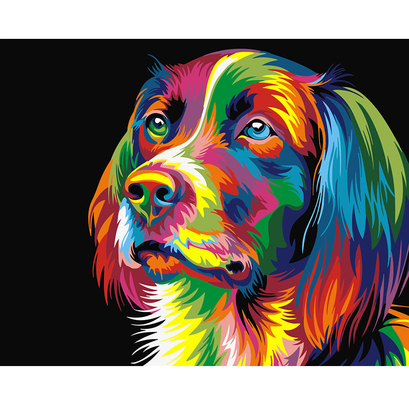 Colourful Dog by Wahyu Romdhoni - Easy DIY Paint by Numbers Kits - OwlCube Canvas Wall Art - OwlCube - Diamond Painting by Numbers