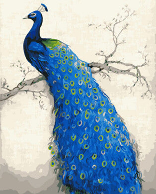Peacock - Easy DIY Paint by Numbers Kits - OwlCube - Canvas Wall Art