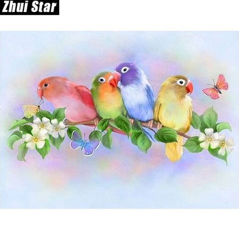 Colorful love bird - Easy DIY Diamond Painting Kits - OwlCube - Diamond Painting by Numbers