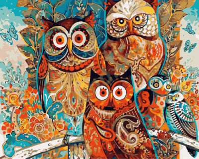 Owls by David Galchutt - Easy DIY Paint by Numbers Kits - Owlcube Canvas Wall Art - OwlCube - Canvas Wall Art