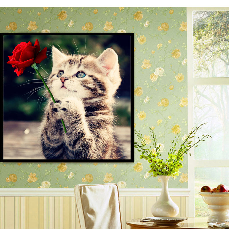 Cat and Rose - Easy 5D DIY Diamond Painting Kits - OwlCube Canvas Wall Art - OwlCube - Diamond Painting by Numbers