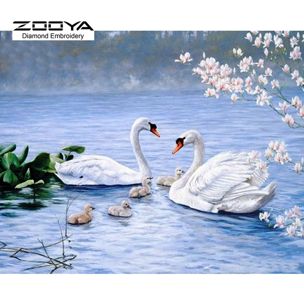 Happiness Swan Lake - Easy DIY Diamond Painting Kits - OwlCube - Canvas Wall Art