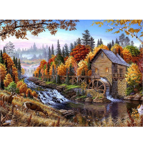 Wooden House in the Forest - Easy DIY Paint by Numbers Kits OwlCube Canvas Wall Art