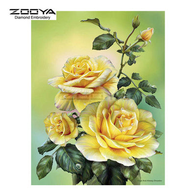 Rose Flowers - Easy DIY Diamond Painting Kits - OwlCube - Canvas Wall Art
