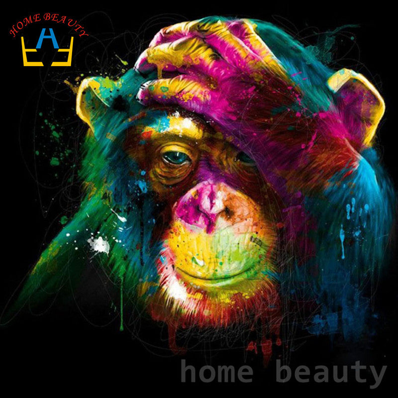 Colorful Painting Monkey - Easy DIY Paint by Numbers Kits - OwlCube Canvas Wall Art - OwlCube - Diamond Painting by Numbers