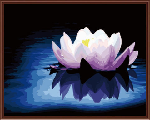 Lotus - Easy DIY Paint by Numbers Kits - OwlCube - Canvas Wall Art
