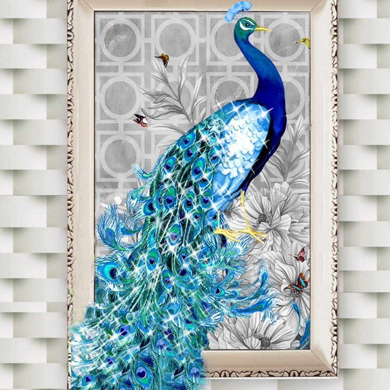 Peacock - Easy DIY Diamond Painting Kits - OwlCube - Canvas Wall Art