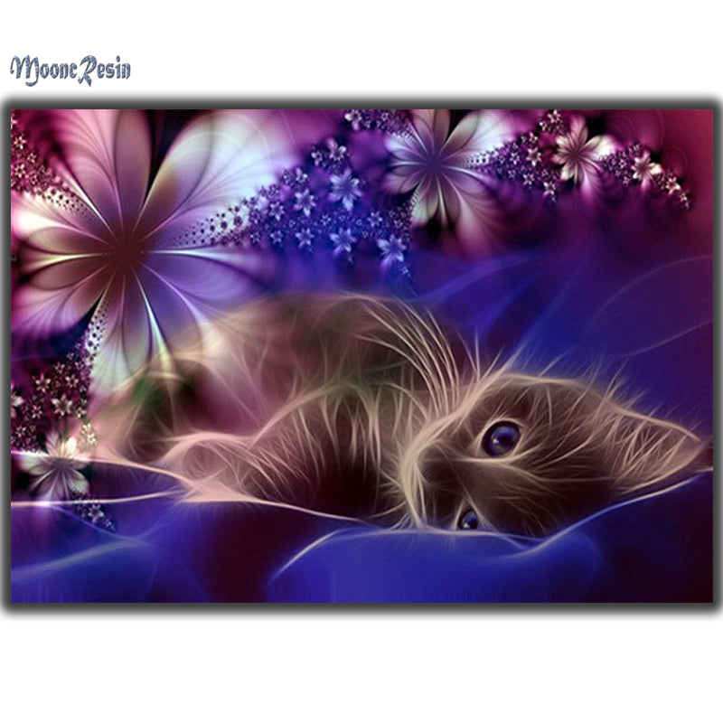 Flower Cat - Easy DIY Diamond Painting Kits - OwlCube - Diamond Painting by Numbers