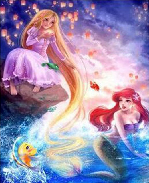 The Little Mermaid - Easy DIY Diamond Painting Kits - OwlCube - Canvas Wall Art