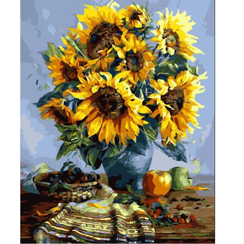 Sunflowers Vase - Easy DIY Paint by Numbers Kits - OwlCube - Canvas Wall Art