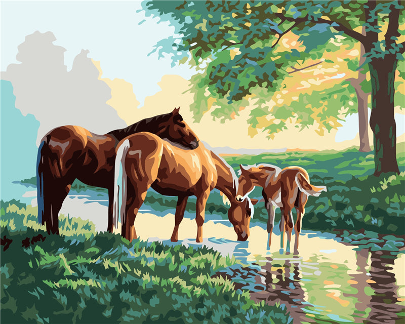 Horse Family - Easy DIY Paint by Numbers Kits - OwlCube - Canvas Wall Art