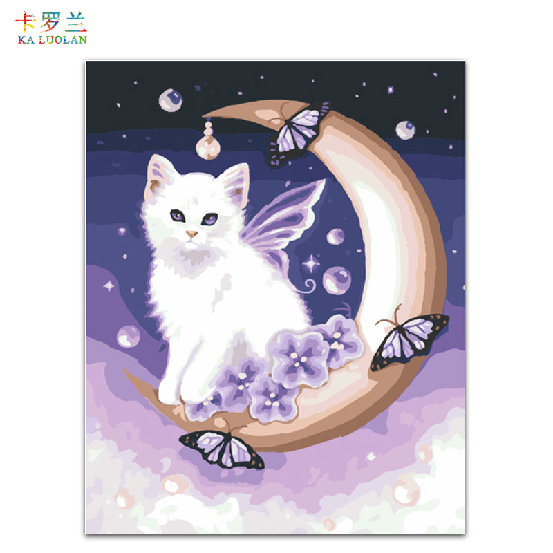 Cat with Moon - Easy DIY Paint by Numbers Kits - OwlCube - Diamond Painting by Numbers