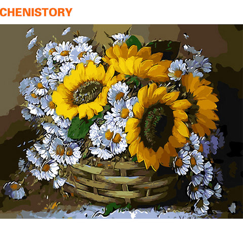 Sunflower Basket - Easy DIY Paint by Numbers Kits - OwlCube - Canvas Wall Art