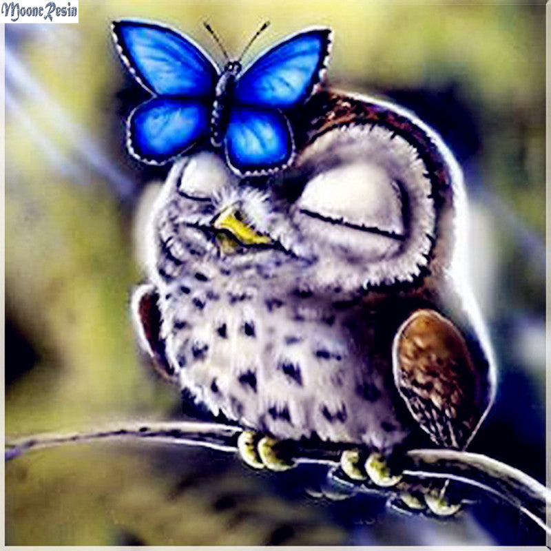 Butterfly & Owl - Easy DIY Diamond Painting Kits - OwlCube - Diamond Painting by Numbers