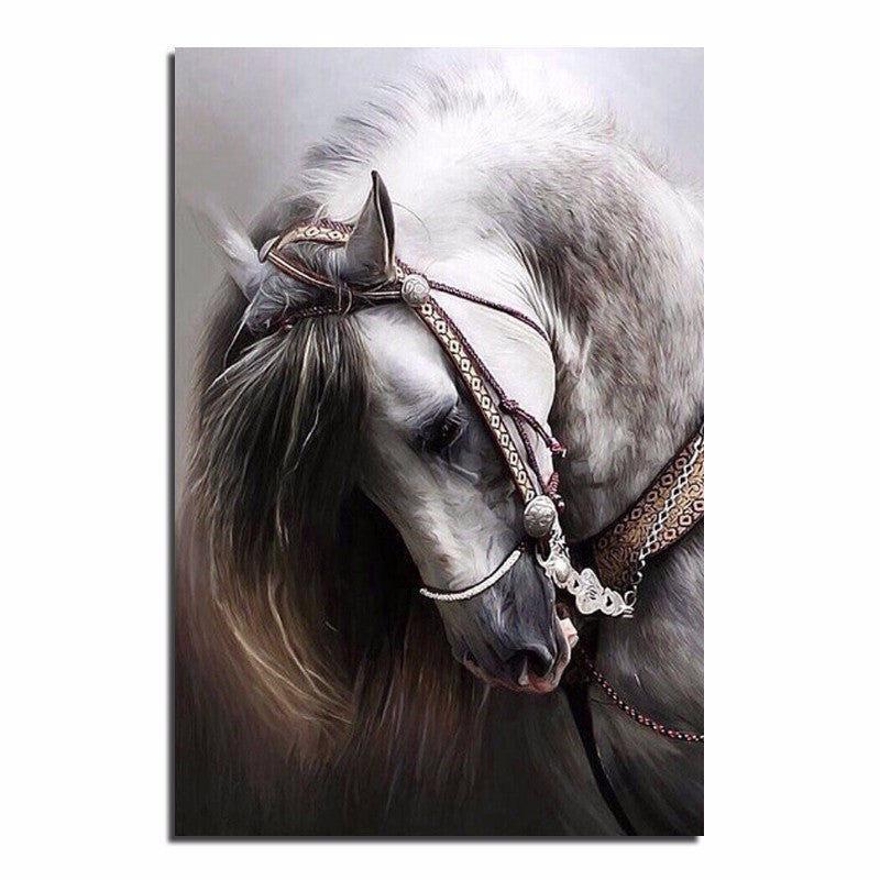White Horse - Easy DIY Diamond Painting Kits - OwlCube Canvas Wall Art - OwlCube - Canvas Wall Art